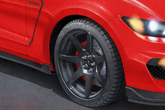 The only modern hand drawn lettered tires and well rounded wheels on the automotive art print market