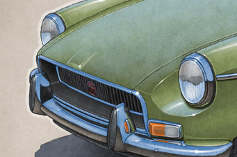 """The 1970-1972 model years MGB drawing shows a detailed front end and blue sky reflection on the bodywork on the 16""""X20"""" printed drawing"""