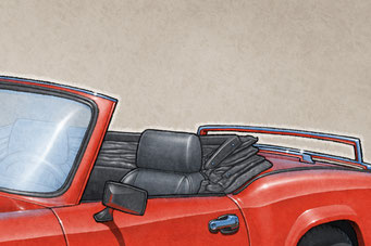 The 1975-1978 model years Triumph Spitfire 1500 drawing shows the interior in all it's factory details