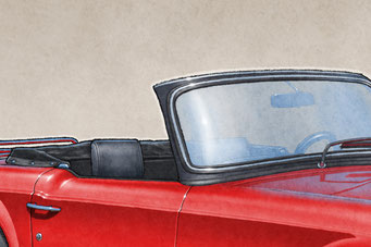The 1970-1976 model years Triumph TR6 drawing shows the interior in all it's factory details