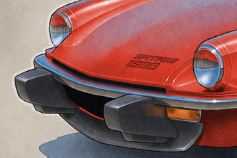 """The 1975-1978 model years Triumph Spitfire 1500 drawing shows a detailed front end and blue sky reflection on the bodywork on the 16""""X20"""" printed drawing"""
