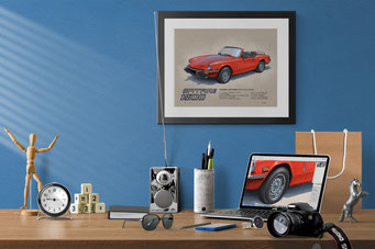 Here is the 1975-1978 Triumph Spitfire 1500 drawing in a nice decorative context of a home office
