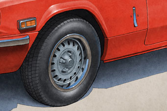 Tire treads and wheels are drawn with details on the Triumph Spitfire 1500 Vintage Looking Drawing.