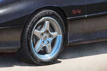 Une autre option du portrait dessiné est d'avoir le lettrage Good Year Eagle F1 et motif de semelle sur les pneus.