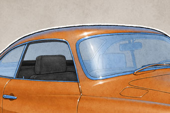 The 1970-1972 model years VW Karmann Ghia drawing shows the interior in all it's factory details