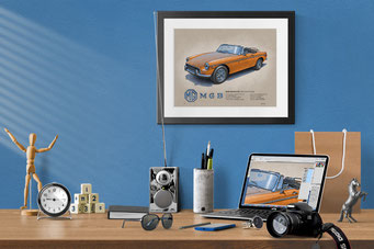 Here is the 1970-1972 MGB Roadster drawing in a nice decorative context of a home office