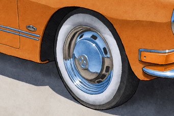 Whitewall tires and solid black tires are available to be drawn on your personalized print