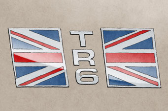 The TR6 US market lettering and British flag add authenticity to the drawing that will please owners of this car
