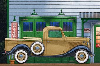 Un camion Ford 1936 ou un rat rod rouge mat de la même période sont utilisé pour illustrer la scène.