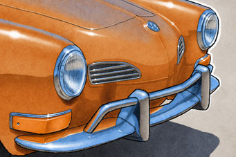 """The 1970-1972 model years VW Karmann Ghia drawing shows a detailed front end and blue sky reflection on the bodywork on the 16""""X20"""" printed drawing"""
