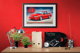 The 1993 SVT Cobra drawn portrait in decoration context well framed showing how big it is compared to usual objects