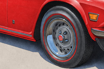 Tire treads, red line and wheels are drawn with details on the Triumph TR6 Vintage Looking Drawing.