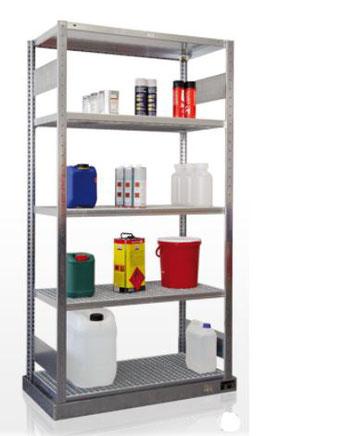 Umweltregal - Regal bei gefährdenden Flüssigkeiten - bei lagerconsulting.at