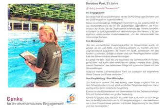 Ehrenamtskalender 2016 vom FWZ Bad Nauheim, Blücherstr. 23/www.fwz-badnauheim.de: DOROTHEE POST, Deutsche Lebensrettungs Gesellschaft (DLRG) / www.dorheim.dlrg.de