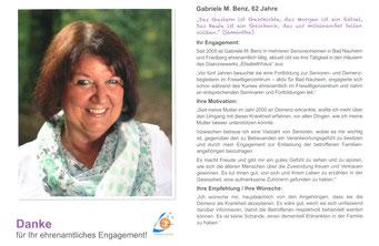 Ehrenamtskalender 2016 vom FWZ Bad Nauheim, Blücherstr. 23/www.fwz-badnauheim.de: GABRIELE M. BENZ, Senioren- und Demenzbegleiterin