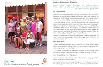 Ehrenamtskalender 2016 vom FWZ Bad Nauheim, Blücherstr. 23/www.fwz-badnauheim.de: Weltladen-2. Vorsitzende des Vereins Bad Nauheim-fair wandeln, ANDREA SCHUMANN / www.bad-nauheim-fair-wandeln.de.