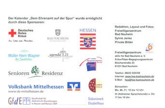 Ehrenamtskalender 2016 vom FWZ Bad Nauheim, Blücherstr. 23/www.fwz-badnauheim.de: Sponsoren des Ehrenamtskalenders 2016