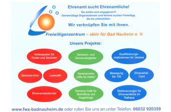Ehrenamtskalender 2016 vom FWZ Bad Nauheim, Blücherstr. 23/www.fwz-badnauheim.de: Projekte des Freiwilligenzentrums in Bad Nauheim