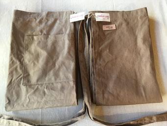 THREAD LINE 麻ギャルソンエプロン(日本製)(ベージュ/茶) ¥3,600+税 約930×740mm 約270g