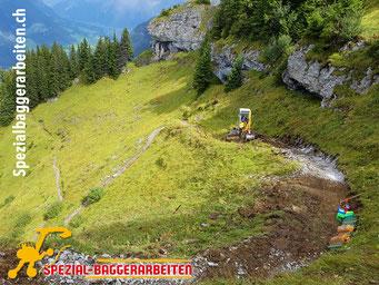 Spezial-Baggerarbeiten Adrian Krieg GmbH  Telefon 079 586 32 47 Felsabbau Felsarbeiten spitzen hämmern fräsen