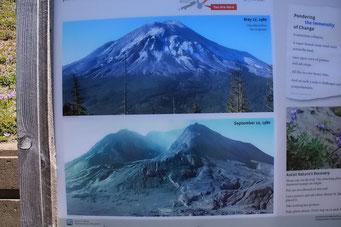 Aufnahmen vor und nach dem Vulkanausbruch