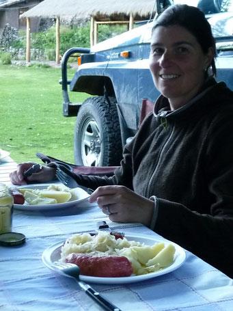 Cusco, Campingplatz - ein ganz besonderer Schmaus: Sauerkraut, Kassler und Kartoffeln