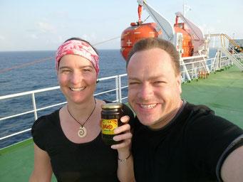 Der Beweis für Slobodan - die Marmelade haben wir für die Equatorüberquerung aufbewahrt - seit Juli