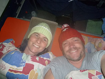 ...kalt, sogar im Bett mit Zipfelmütze