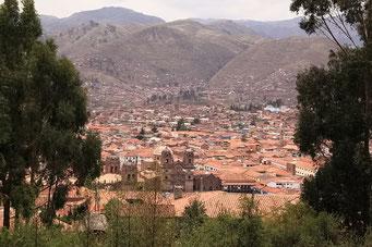 Sicht auf Cuzco vom Campingplatz