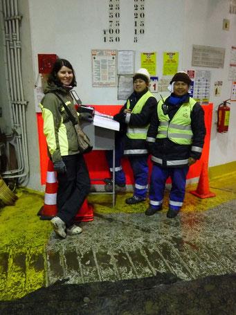Unser Welcome - Komitee auf dem Schiff