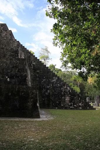 Im 45° geht es nach oben, Tikal