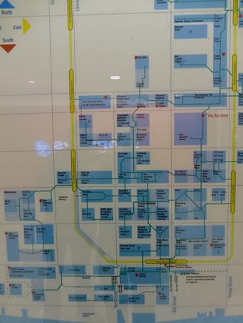Plan der Unterirdischen Shopping-Malls