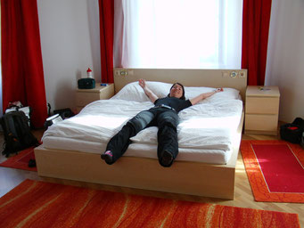 Schön, wieder in einem richtigen Bett zu schlafen