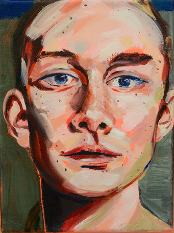 urban angel (2), 2017, acrylic + oil on canvas, 18 x 24 cm