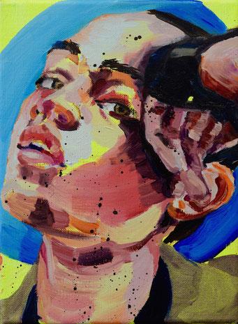 urban angel (17), 2017, acrylic + oil on canvas, 18 x 24 cm