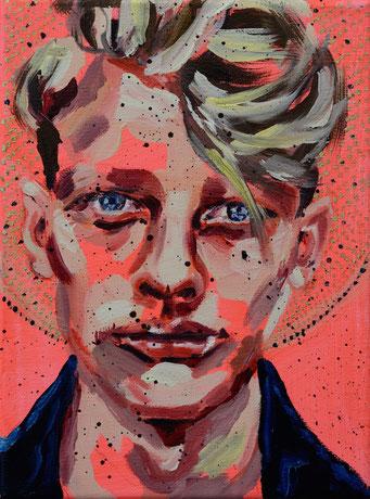urban angel (12), 2017, acrylic + oil on canvas, 18 x 24 cm