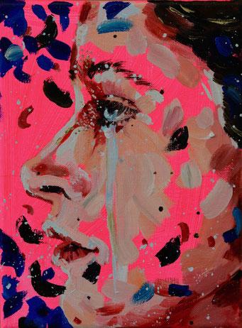 urban angel (18), 2017, acrylic + oil on canvas, 18 x 24 cm