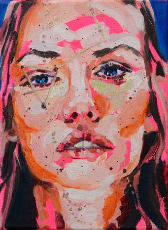 urban angel (13), 2017, acrylic + oil on canvas, 18 x 24 cm