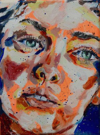 urban angel (15), 2017, acrylic + oil on canvas, 18 x 24 cm