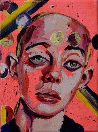 urban angel (11), 2017, acrylic + oil on canvas, 18 x 24 cm