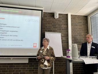 Jutta Blennemann (CKD) und Torsten Gunnemann (Caritasverband Main-Taunus) beim II. Hessischen Engagementkongress 2021 an der Ev. Hochschule Darmstadt.   © Foto: S. Schlitt, EKKW
