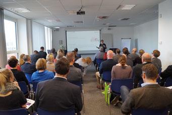 Prof. Dr. Alexandra Cloots (Fachhochschule St. Gallen) beim Social Talk 2018 © Sabine Schlitt, EKKW