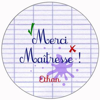 Merci Maîtresse badge miroir magnet décapsuleur cahier