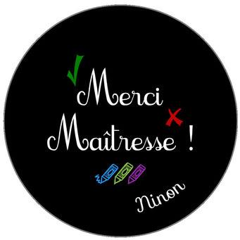 Merci Maîtresse badge miroir magnet décapsuleur Tableau Noir