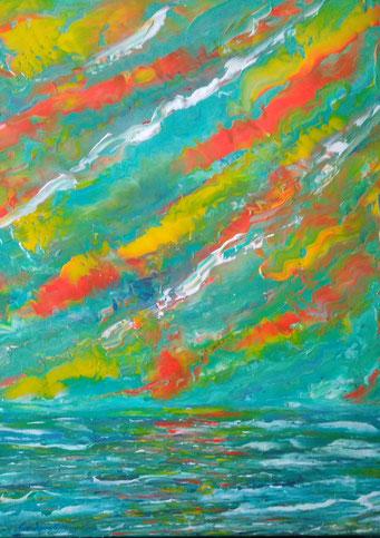 Orizzonte e i suoi colori ( acrilico su tela 50x60 -2018)