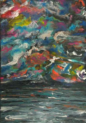 Tempesta all'orizzonte (acrilico su tela 35x50 -2018)