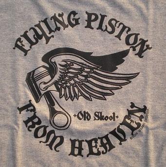 FLYING PISTON FROM HEAVEN ・Gray フライングピストンフロムヘブン・杢グレー バックプリント