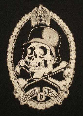 Helmet skull・Black ナチヘルスカル・ブラック フロントプリント