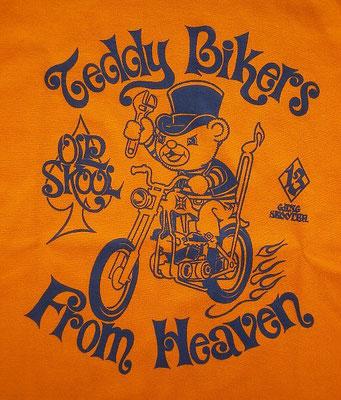 Teddy Bikers From Heaven・Mandarin orange テディバイカーフロムヘブン・マンダリンオレンジ フロントプリント・アップ