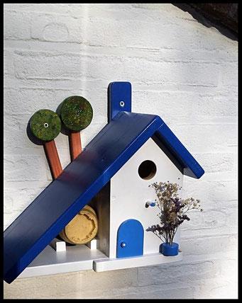 Houten Nestkastje voor Pindakaas pot , Nestkastje, thema, Grieks stijl Vogelhuisje bouwen, vogelhuisje pindakaas pot, huisje Grieks stijl_2